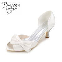 Sweet D Orsay Evening Dress Shoes With Bow On The Toe Bridal Wedding Bridemaids Low Med
