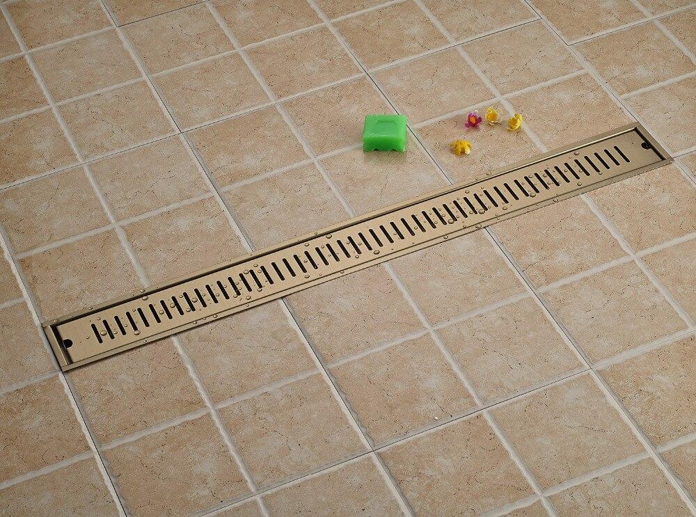 Ti-pvd Rectangle 90 x10cm Bathroom Shower Floor Drain ti pvd matte color rectangle bathroom floor drain