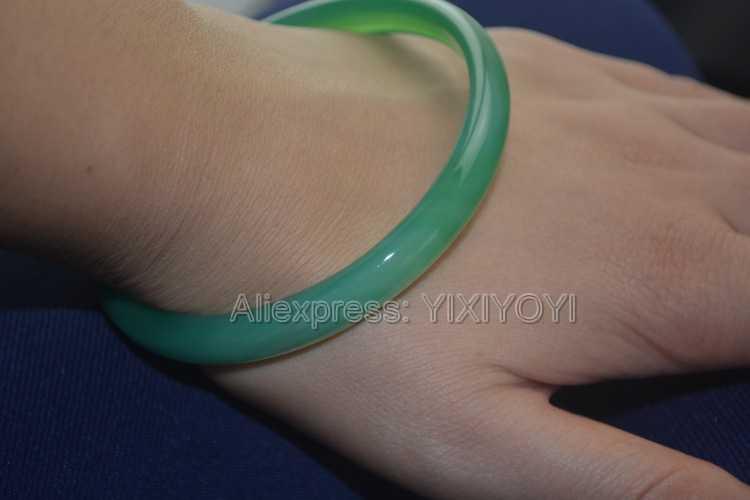 8-10 มม. ธรรมชาติสีเขียวหยก Lucky กำไลข้อมือผู้หญิงกำไลข้อมือสาวหวานของขวัญเครื่องประดับ 55-62 มม.