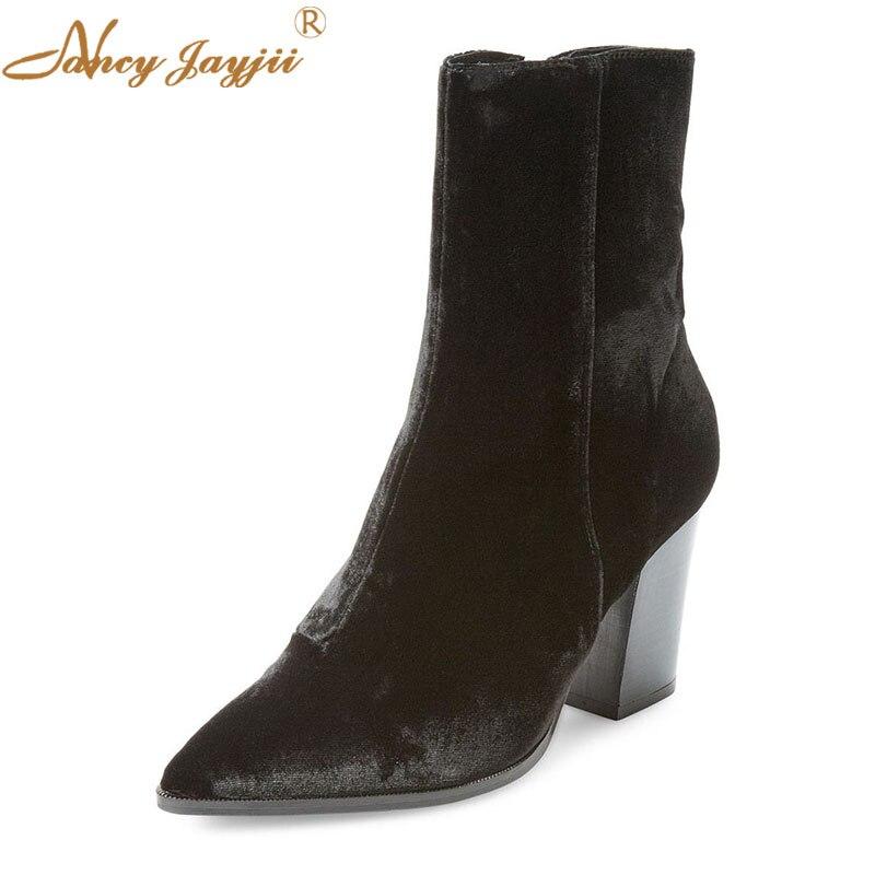 Winter Women Boots Adult Ladies Shoes Pointed Toe Black Solid Zipper Ankle Fashion Mature Nancyjayjii Dress Big Size 45 44 2019