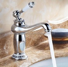 Bathroom Basin Faucet Chrome finish Brass Sink Faucet Single Handle Vessel Sink Water Tap Mixer Knf502 free shipping luxury swan design antique brass finish faucet bathroom basin mixer single handle countertop basin tap gi61
