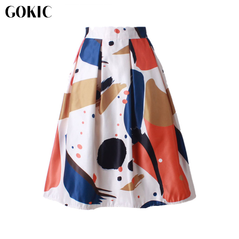GOKIC 2017 Audrey Hepburn Style Women s Vintage Retro Watercolor Print Pleated Skirts High Waist A