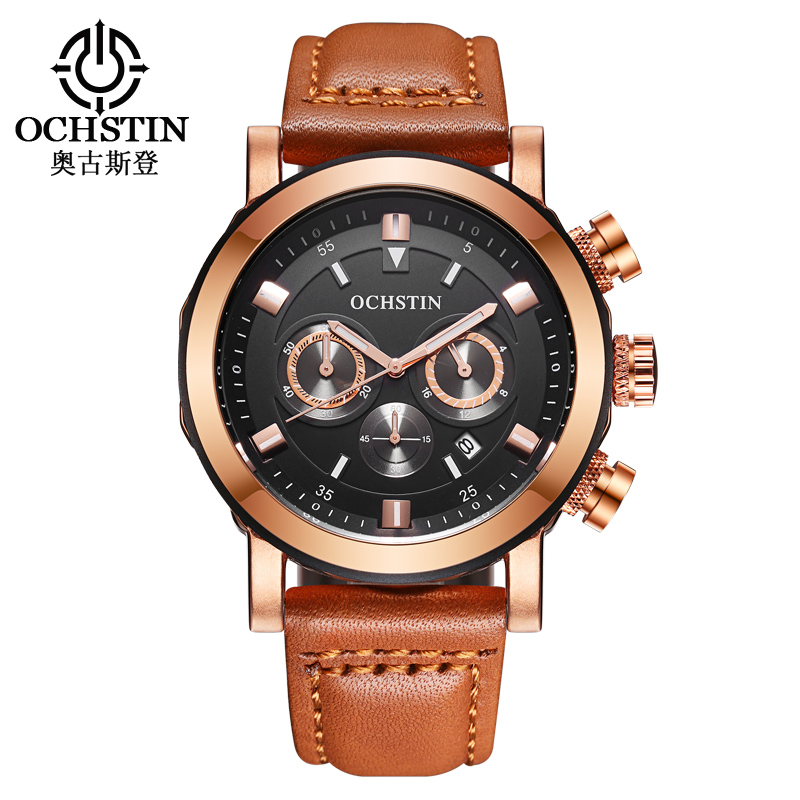 OCHSTIN Luxury Brand Sport Men Watches Waterproof Chronograph Leather Quartz Wrist Watch Men Clock Male reloj Relogio Masculino 12pcs professional makeup brushes eye shadow foundation lip brush set cosmetic tool eye face cosmetic make up brush tool kit