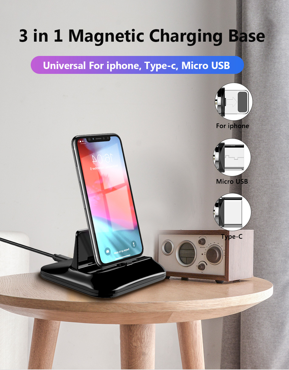 !ACCEZZ 2 in 1 Phone Stand Holder Magnetic Charger For iphone 8 X Plus Universal Type-C Micro USB 8 Pin Desktop Charge For Xiaomi (1)