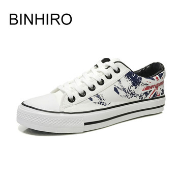 BINHIIRO Men's Vulcanize Shoes Canvas Lace-up Fashion Solid Print Antiskid Rubber Flat Sneakers Autumn Casual Male Shoes 2019