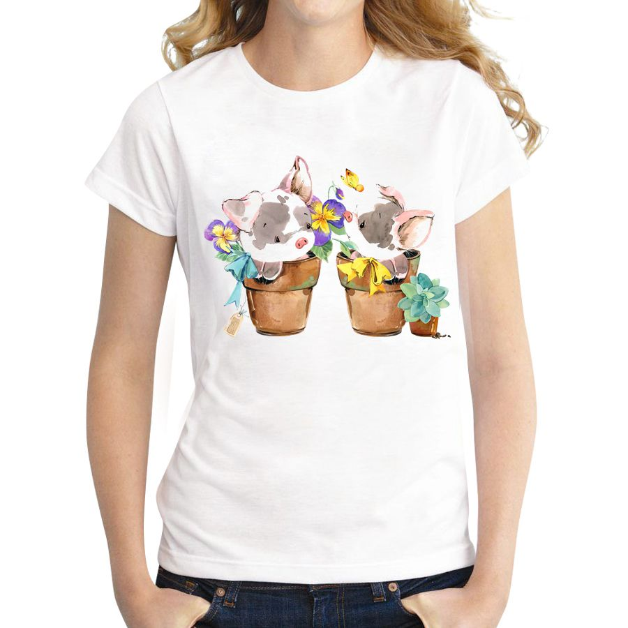Cheapest Women Customized T-shirt Flower Pot Pig Printed Lady Funny Tops Short Sleeve O-neck Casual Fashion Cool Tee