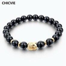 d4d49ebae9ac Chicvie Piedra Natural Buda pulseras para las mujeres hombres oro color  Buda negro pulsera SBR150210
