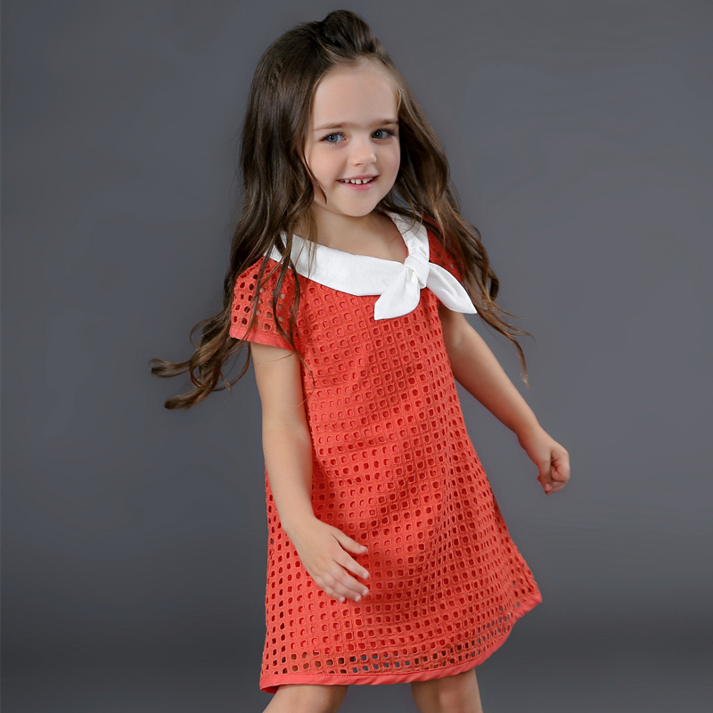 New Fashion Summer Dress 2017 Girls Children Clothing Hollow Out Designs Dress For Children's Party Casual Dress Girls Clothes azel elegant latest new child dress for 2 3 year old girls vestidos fashion summer kid clothing little girls daily clothes 2017