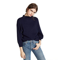 2018 women New Tops Simple And Pure Color Half High Collar Rotator Cuff Sweater Autumn Lady Streetwear Holiday