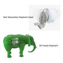 2pcs Elephant Head Wall Decoration Sculpture 3D Jigsaw Puzzle Cardboard DIY Handmade Creative Home Decoration Kid Toy Gift