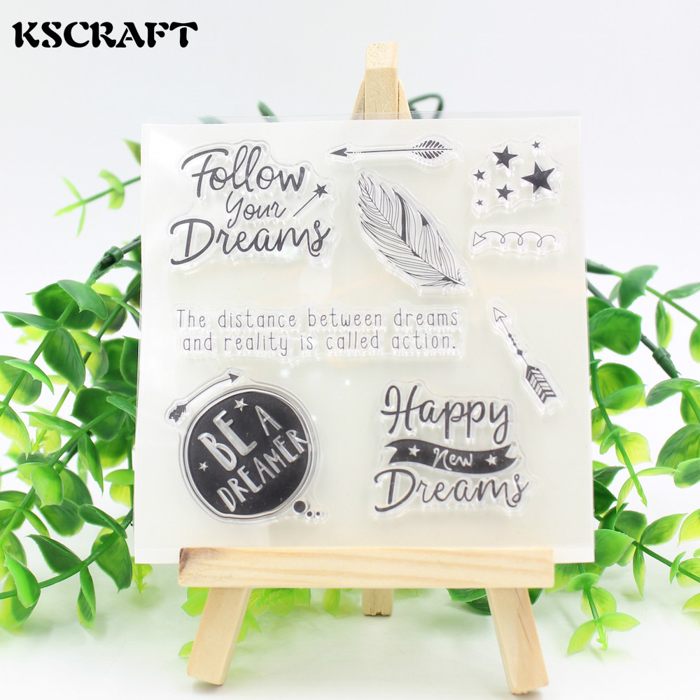 KSCRAFT Follow Your Dream Clear Silicone Stamp for DIY scrapbooking/photo album Decorative craft