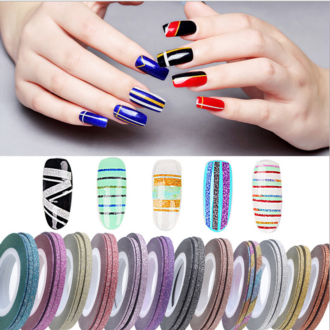 Hot 1 Rolls 3mm Glitter Nail Art Tape Line Strips Striping Decoration For Uv Gel Polish Adhesive Sticker