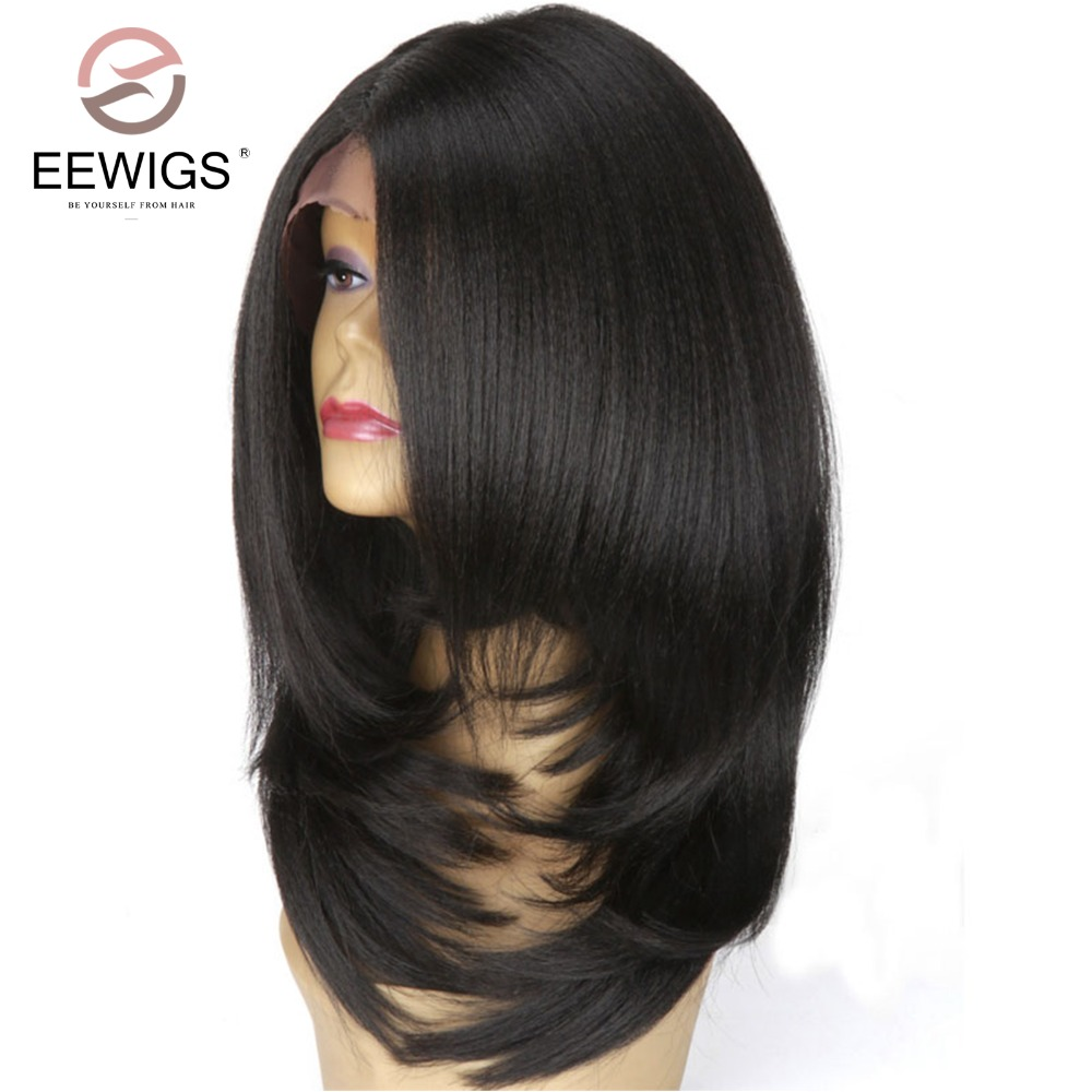 Short Bob L Part Layered Italian Yaki Straight Glueless Wig Heat Resistant Fiber Wig For Women Black Synthetic Lace Front Wig