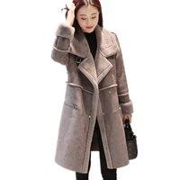 Winter New Korean Thickening Long Lamb Wool Jacket Deerskin Cotton Clothes Slim Warm Suede Women Solid