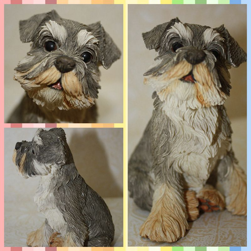 Free shipping Mini Figure Resin toy Lifelike Vivid Schnauzer Dog pet lover cake home office car decoration party supply gifts