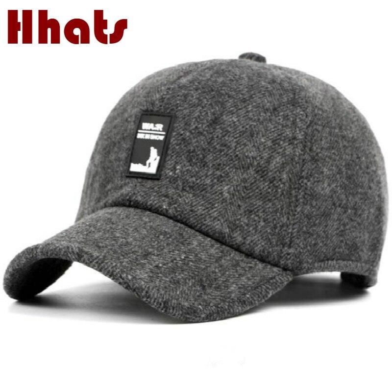 Que no chuveiro velho homens aba do chapéu do snapback do boné de beisebol  de inverno de lã grossa quente ouvido avô lã chapéu casquette caminhoneiro 6cdc00af823