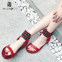 Prova Perfetto retro style do old genuine leather women gladiator sandals metal decoration ankle strap flat heel casual sandals