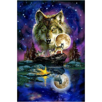 5D Diamond Embroidery DIY Diamond Painting Night Wolf Full Round Drill Cross Stitch Mosaic Europe Home Decor Paintings