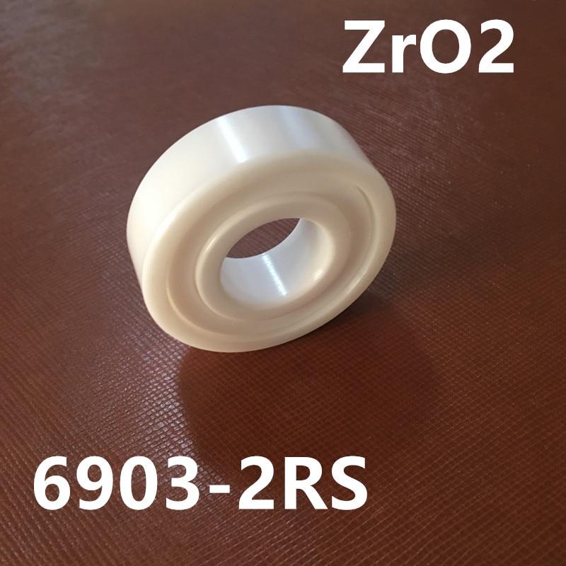 Free shipping 6903-2RS full ZrO2 P5 ABEC5 ceramic deep groove ball bearing 17x30x7mm 61903 bike bearing free shipping 6201 full zro2 ceramic deep groove ball bearing 12x32x10mm p5 abec5