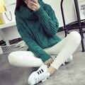 Arca 2016 mujeres del resorte coreano suéter grueso de lana gruesa hecha punto Tops moda Pullover Batwing manga suéter suéter mujeres