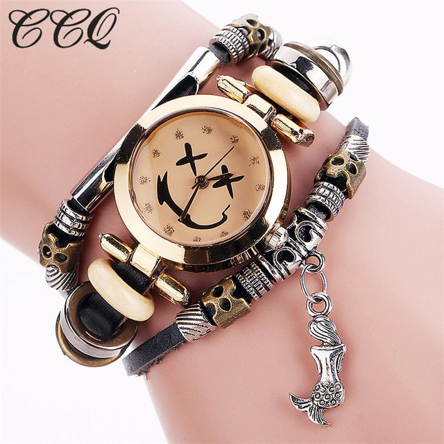CCQ Luxury Brand Vintage Cow Leather Bracelet Watch Women Wristwatch Ladies Dres