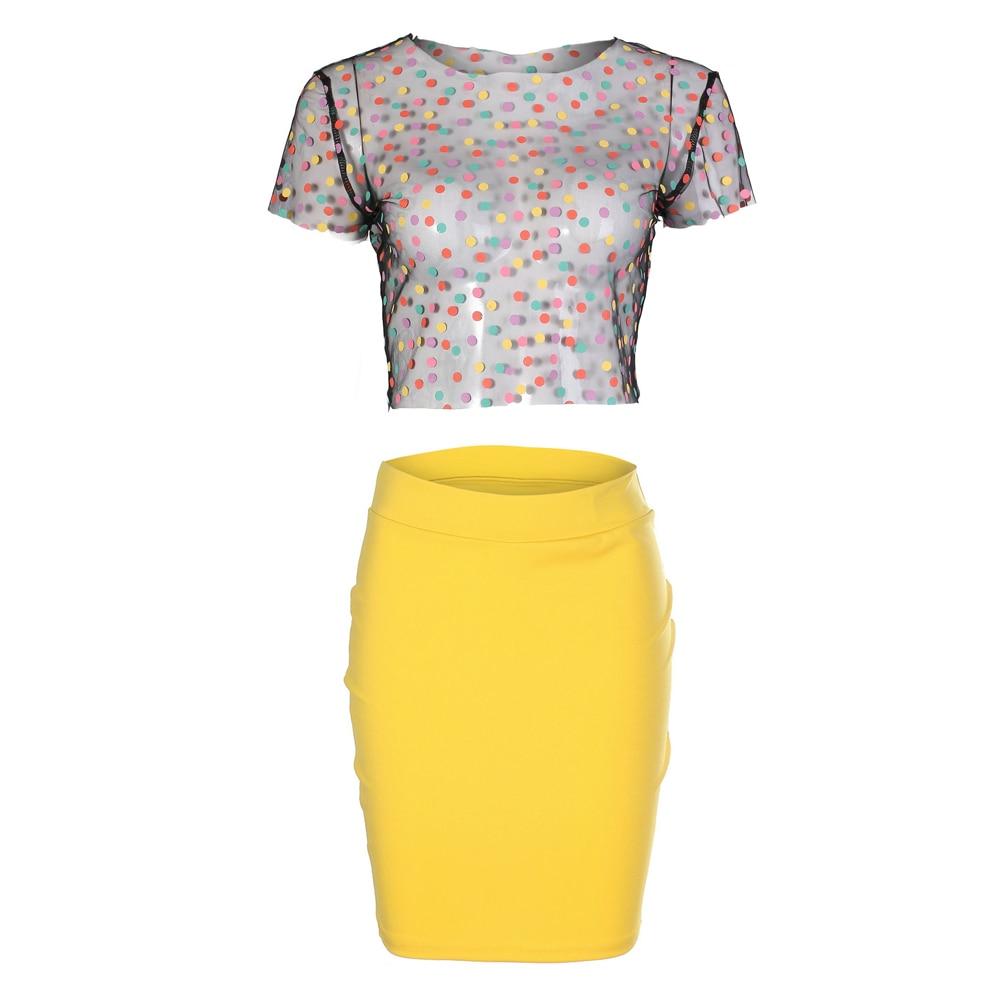3bf0e6d6761 Fashion Dress Women 2018 Summer Dresses Party Club Wear Mesh Dot Top+Yellow  Mini Dress Two Piece Women Dress -in Dresses from Women s Clothing on ...