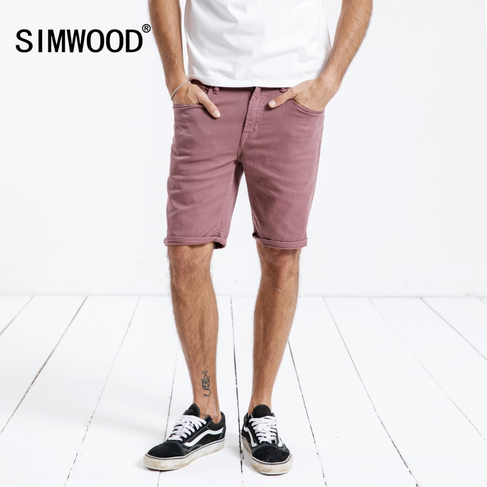 SIMWOOD Denim Shorts Men 2019 Summer New Purple Red Fashion Slim Fit High Quality Washed Jeans Plus Size Brand Clothing 180162