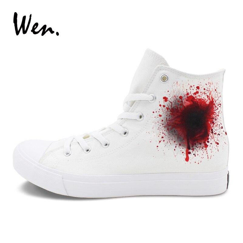 Homem À Top Alta Personalizar Lona Mão Branco Wen De Sneakers Plimsoll Designer Sapatos Mulher Vulcanize Nenhum Pintados Ferimento Arma 8RR1Zqwx