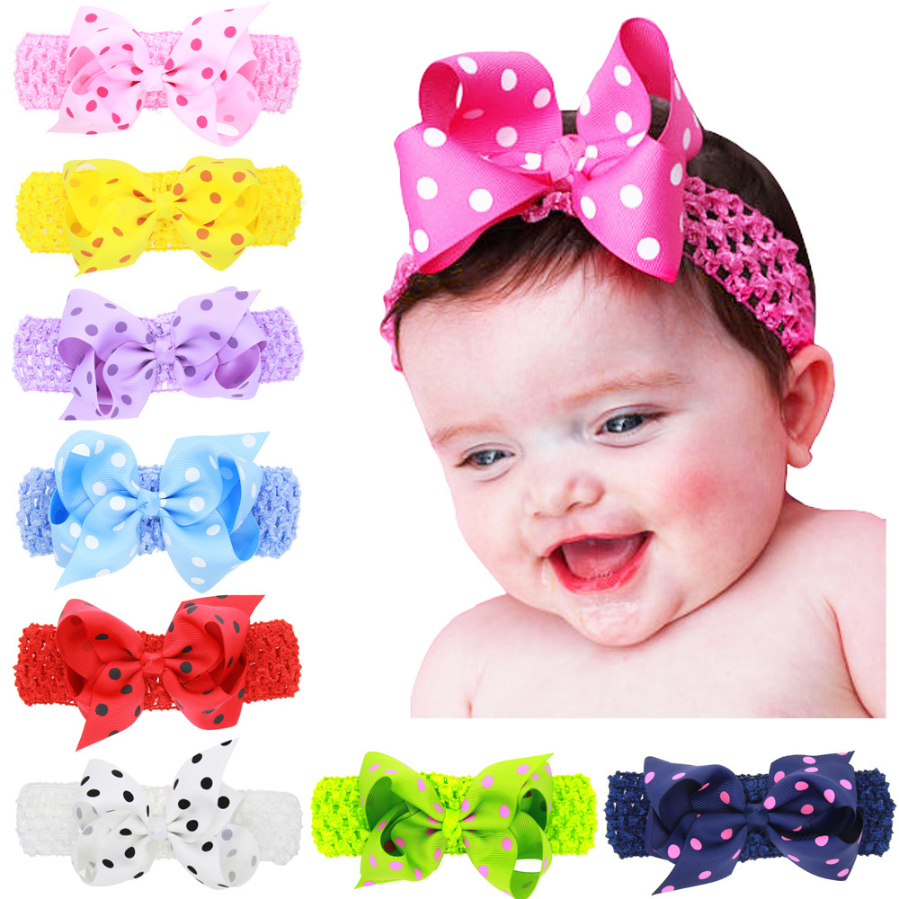 Girls Hair Accessories Toddler Flower Bowknot Dots Ribbon Hair Band wave Bow Headband baby head ornaments 16 color headwear