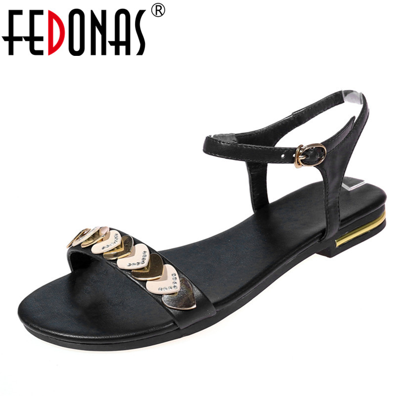 FEDONAS 2018 Summer Fashion Sandals Women Genuine Leather Shoes Woman Flip Flops Gladiator Comfort Casual Wedding Females Shoes fedonas women sandals soft genuine leather summer shoes woman platforms wedges heels comfort casual sandals female shoes