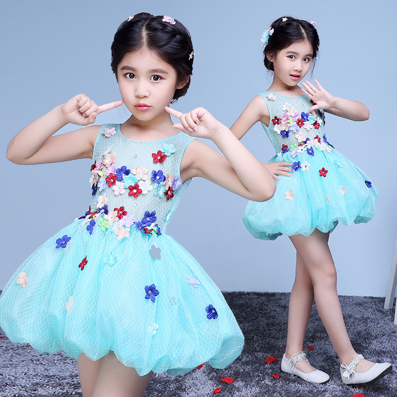 tutu princess dress appliques flower girl dresses for wedding birthday gift sleeveless ball gown pageant dress for little girls