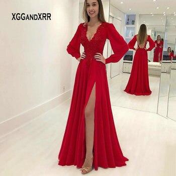 e7174aca53e6a1f Красная одежда с длинным рукавом вечернее платье Длинные 2019 халат de  soiree Sexy V образным вырезом кружевное вечернее платье вечерние платья  пра.