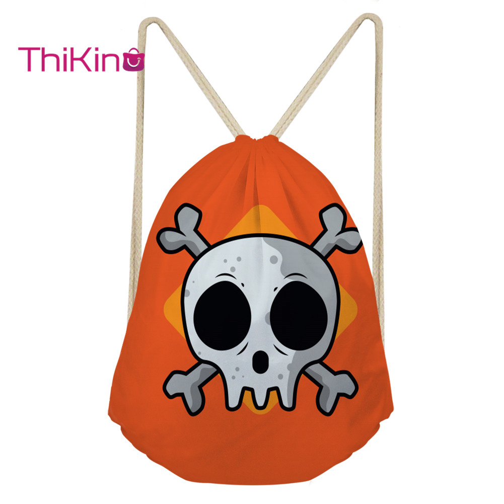 Thikin Cool Skull Casual Sack For Teenager Kids Travel Backpack Toddler Softback Girls Beach Mochila DrawString Bag