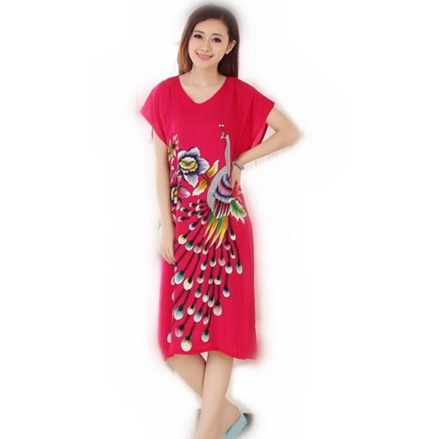 Venda quente Azul do Verão de Manga Curta da Senhora Camisola de Algodão Estilo Chinês Impressão Robe Bath Vestido Flor Sleepwear Um Tamanho T055