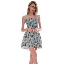 13c358f7f69 Floral Printed Strapless Wrapped Chest Elastic Tube Summer Dress Sexy  Pleated Mini Dresses Women s European and