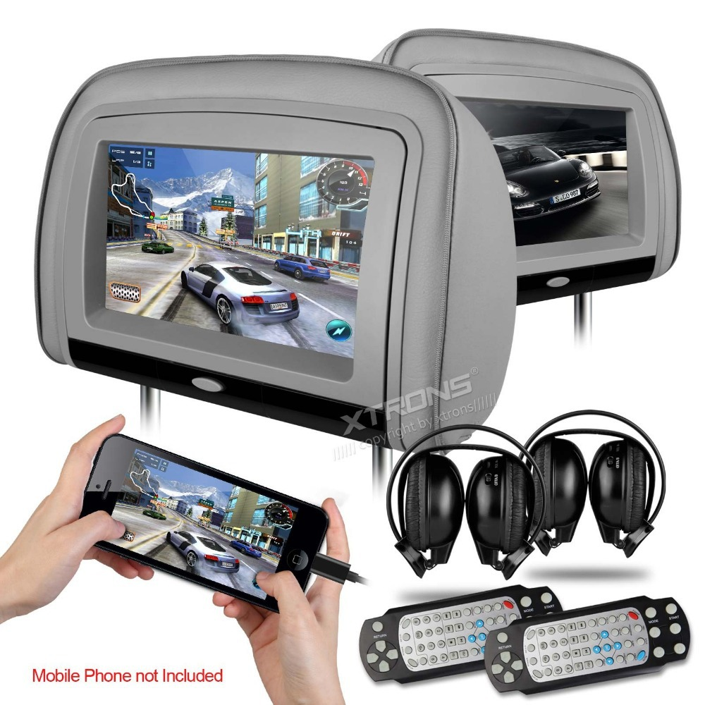 2x9 grey car headrest dvd player with buit in hdmi port. Black Bedroom Furniture Sets. Home Design Ideas
