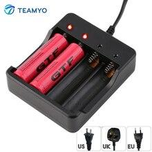 Carregador de Bateria Inteligente com Proteção contra Curto Circuito para 4×18650 Teamyo 4 Slots Bateria de Lítio-ion BAY Recarregável Baterias