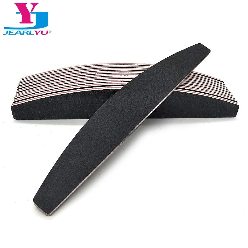 10Pcs/Lot File Buffer Sander Pilnik Do Paznokci Nail Files 100/180 Side Professional Nail Art Files Tools Boat Type Black