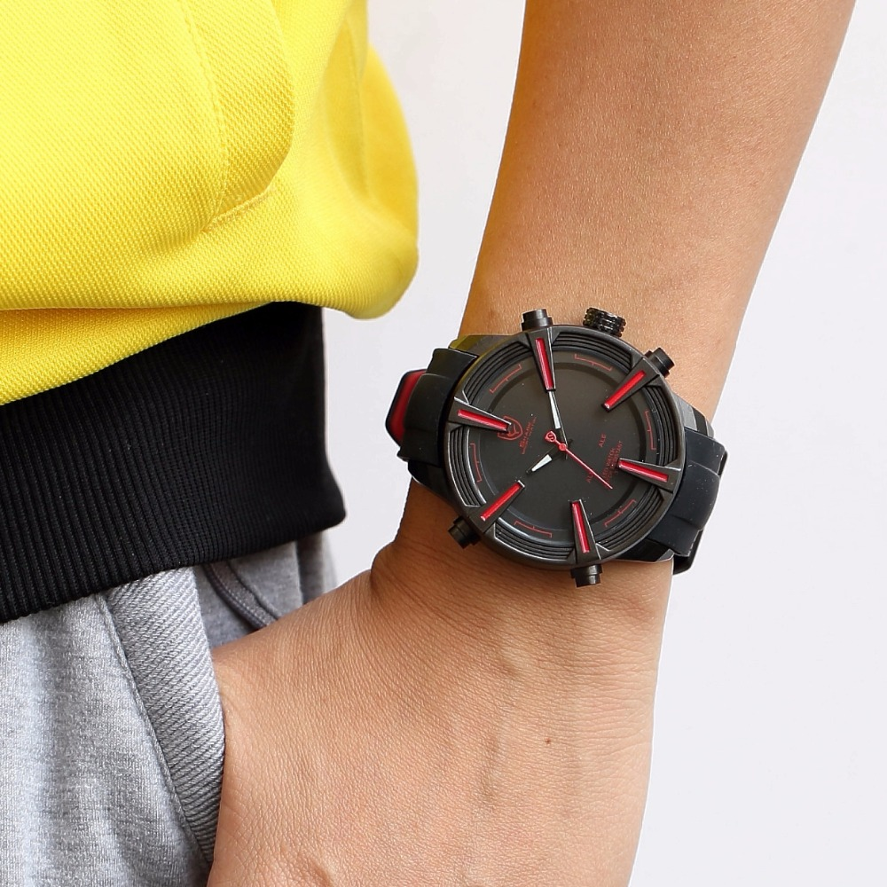 Chien de mer requin Sport montre chaude numérique rouge LED calendrier alarme militaire hommes mode Silicone bracelet montres horloge cadeau/SH384 - 4
