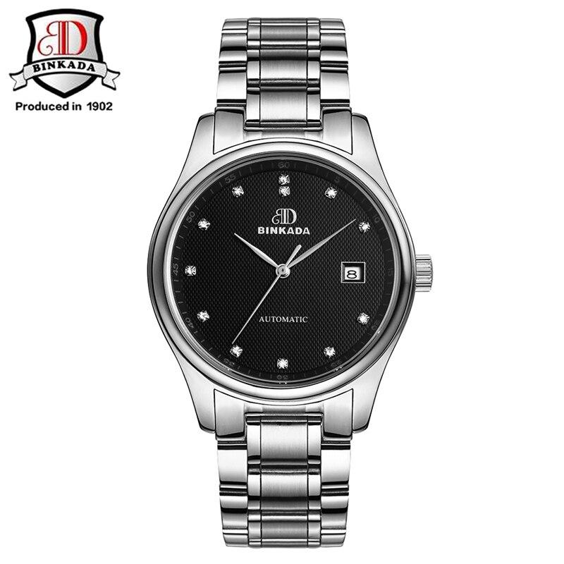 BINKADA 2019 relojes automáticos de moda para hombre, reloj de oro mecánico de marca de lujo, reloj de pulsera de acero inoxidable impermeable para hombre - 3