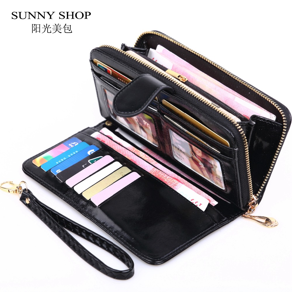 2018 Dropshipping Purse Women Zipper Long Vintage Wallet Women Leather Big Money Bag Credit Card Holder