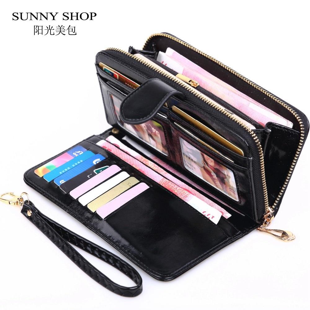 2018 Dropshipping Purse Women Zipper Long Vintage Wallet Women Leather Big Money Bag Credit Card Holder Wallet Solid Casual
