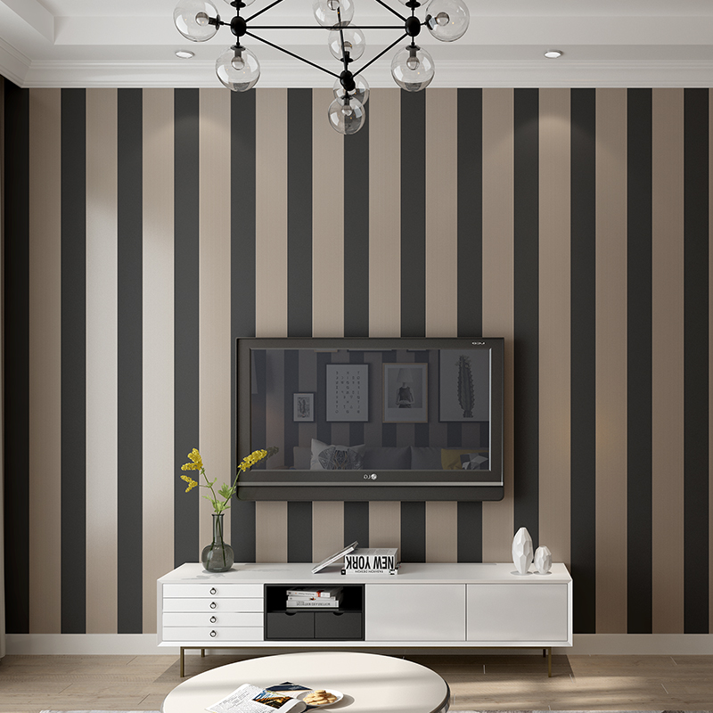 Mediterranean Style Striped Wallpaper Non-woven Wide Striped Living Room Bedroom Warm TV Background  Wall Papers Home Decor