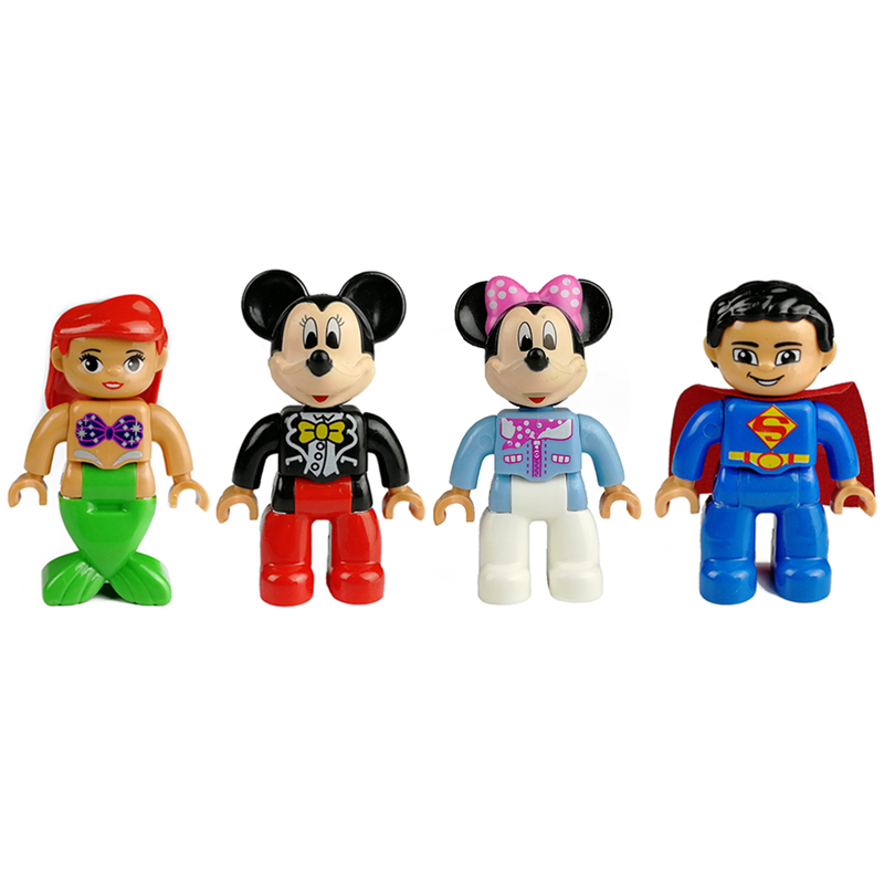 Mermaid Mickey Mouse Minnie Superman Action Figures Big Size Building Blocks Character Compatible With Duplo Bricks Kids Toy