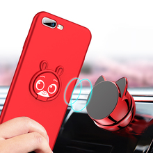 Finger Ring Bracket Soft Silicone Cute Phone Case For iPhone x 7 8 6 6s Plus TPU Red Pink Protection Cover For iPhone 7 8 Coque mercury goospery i jelly finger ring kickstand tpu shell for iphone 7 plus 5 5 red