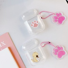 Cute Cat Pendant Cartoon Wireless Bluetooth Earphone Case For Apple AirPods 2 1 Silicone Charging lucency