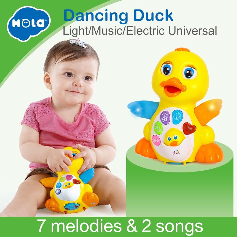 HUILE juguetes 808 bebé juguetes EQ aleteando pato amarillo bebé Brinquedos Bebe eléctrica Universal juguete para los niños 1- 3 años