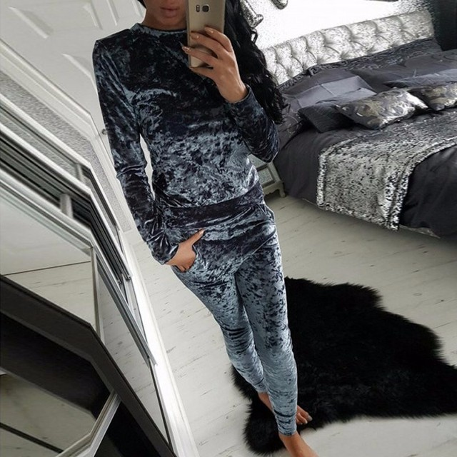Ladies Crushed Velvet Lounge Suit Sweatshirt Womens Lounge Wear Tracksuit 2 Piece Set HT