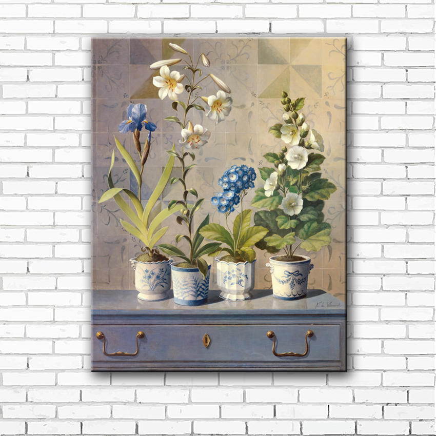 pastoral blue irises flowers scenery canvas printings oil Landscape Canvas Wall Art Wall Art for Living Room