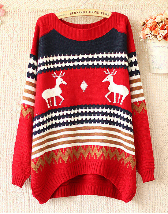 2014 autumn winters the reindeer wave pullovers long-sleeved sweater Christmas gift
